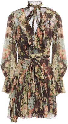 Zimmermann Espionage Ruffle Tie-neck Floral-print Silk-georgette Mini Dress