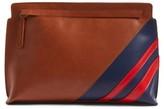BP Stripe Faux Leather Clutch - Brown