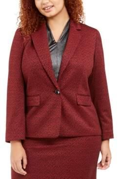 Nine West Plus Size One-Button Jacquard Blazer