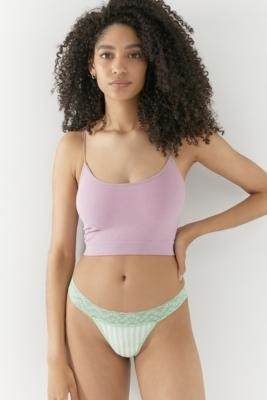 Out From Under Lace Trim Cotton Thong - Green XS at Urban Outfitters