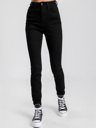 Lee Supa High Licks Skinny Jeans in Prime Black Denim