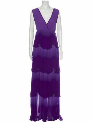 Just Cavalli V-Neck Long Dress Purple