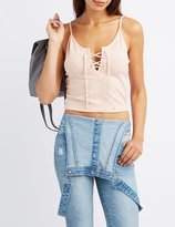 Charlotte Russe Ribbed Lace-Up Tank Top