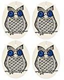 Set of Four Owl Print Air Fresheners, Blue, Faded Denim