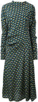 Marni Portrait print draped dress