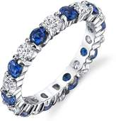 Metal Masters Co.® Sterling Silver 925 Eternity Ring Engagement Wedding Band With Sapphire Blue Color Cubic Zirconia SZ7