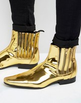 Asos Chelsea Boots In Gold With Double Zip