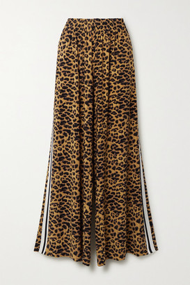 Norma Kamali Elephant Striped Leopard-print Stretch-jersey Wide-leg Pants - Leopard print