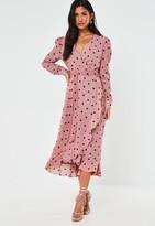 Missguided Pink Polka Dot Ruffle Hem Wrap Midi Tea Dress