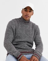 ONLY & SONS high neck textured knitted sweater in dark red