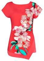 Wallis Coral Orchid Print Top