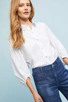Anthropologie Balloon-Sleeve Poplin Buttondown