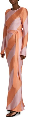 Maggie Marilyn Get Em Girl Long-Sleeve Silk Maxi Dress
