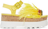 Miu Miu Yellow Feather Compact Sole Sandals