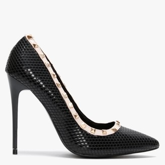 Df By Daniel Carley Black Reptile Studded Court Shoes