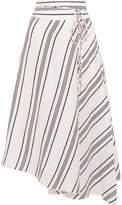 Apiece Apart Rosehip Asymmetric Striped Linen And Silk-blend Wrap Midi Skirt