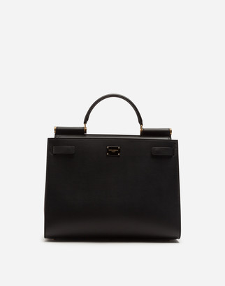 Dolce & Gabbana Large Sicily 62 Tote Bag In Calfskin And Cashmere Split-Grain Leather