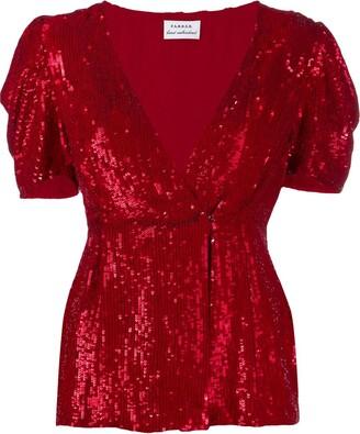 P.A.R.O.S.H. sequinned V-neck blouse