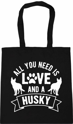 Hippowarehouse All you need is love and a Husky Tote Shopping Gym Beach Bag 42cm x38cm 10 litres
