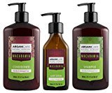 Arganicare Macadamia Shampoo, Conditioner & Serum Set with certified organic oils of argan and macadamia for dry and damaged hair