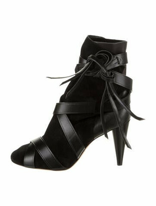 Isabel Marant Suede Round-Toe Boots Black