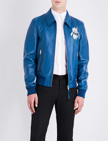 Alexander McQueen Iris-embroidered leather bomber jacket