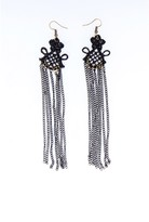 AX Paris Black Crochet Chain Tassel Earrings