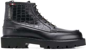 Bally Crocodile Effect Lace-Up Boots