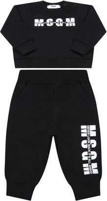 MSGM Bleck E Tracksuit For Babykids With Logo