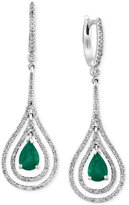 Effy Brasilica by Emerald (1-1/8 ct. t.w.) and Diamond (3/4 ct. t.w.) Earrings in 14k White Gold