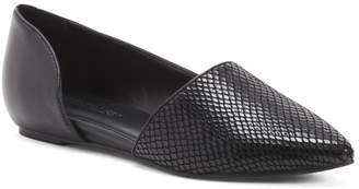 Croc Pointy Toe Leather Ballet Flats
