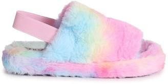 Linzi COMFY - Tie Dye Fluffy Slingback Slippers With Platform Sole