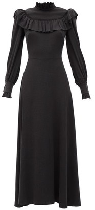 The Vampire's Wife The Firefly Gathered Puckered Silk-satin Dress - Black