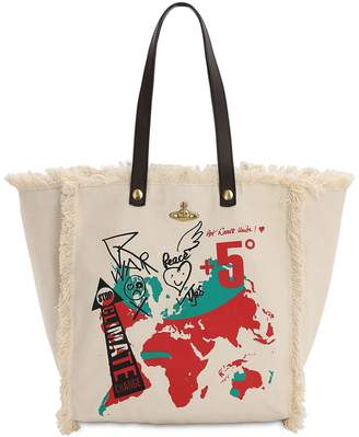 Vivienne Westwood WORD MAP COTTON CANVAS TOTE