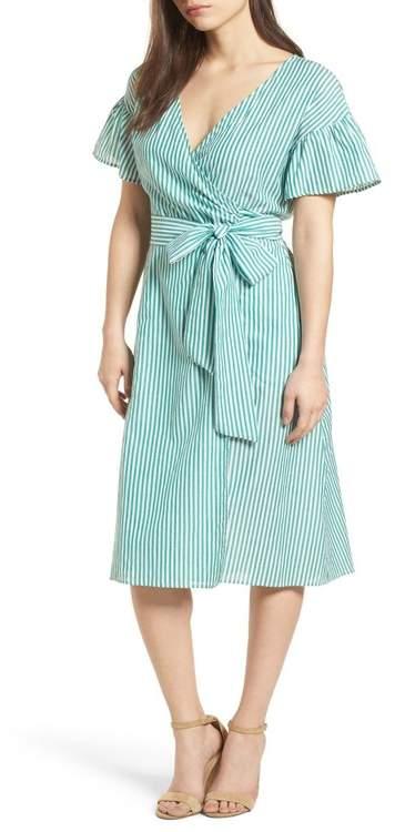 Velvet Stripe Cotton Wrap Dress
