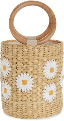 Poolside Bobbi Daisy Woven Bucket Bag