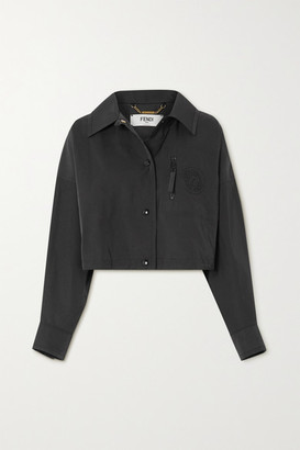 Fendi Cropped Twill Jacket - Black