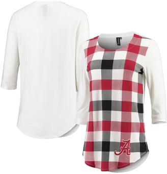 Unbranded Women's White/Crimson Alabama Crimson Tide Gingham Plaid 3/4-Sleeve T-Shirt