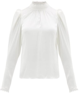 Frame Lace-trimmed Silk-satin Blouse - Womens - Ivory