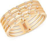 GUESS Gold-Tone Crystal Hinged Bangle Bracelet