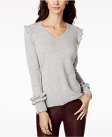 Charter Club Cashmere V-Neck Ruffled Sweater, Created for Macy's