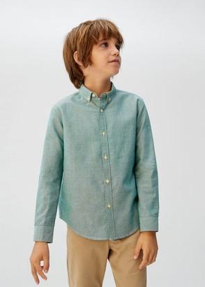 MANGO Cotton Oxford shirt white - 5 - Kids