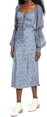 Free People Aglow Smocked Long Sleeve Midi Dress