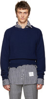 Raf Simons Navy Wool Destroyed Sweater
