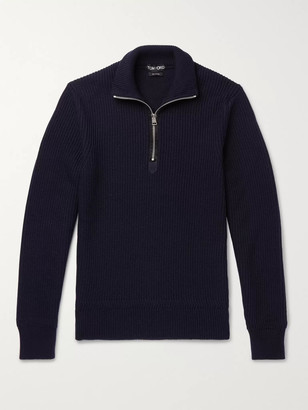 Tom Ford Ribbed Wool and Cashmere-Blend Half-Zip Sweater - Men - Blue