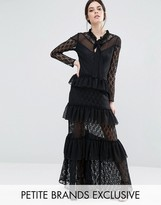 True Decadence Petite Long Sleeve Tiered Lace Frill Maxi Dress