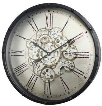 A&B Home Roman Numeral Gear Wall Clock Black