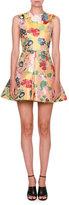 Valentino Romantic Brocade Sleeveless Fit-&-Flare Dress, Yellow/Multi