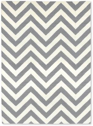 Jonathan Adler Grey Herringbone Reversible Peruvian Flat Weave Rug