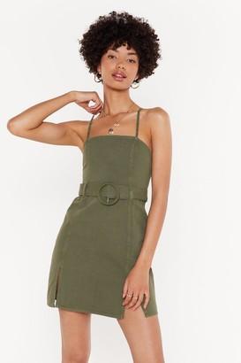 Nasty Gal Womens You Ain'T Slit Denim Belted Mini Dress - Green - 14, Green